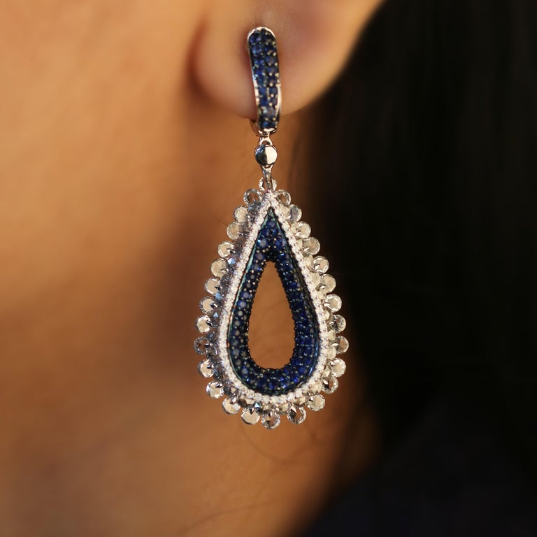 Studio Rêves Diamond and Blue Sapphire Tear Drop Reversible Earrings in 18K Gold For Sale 2