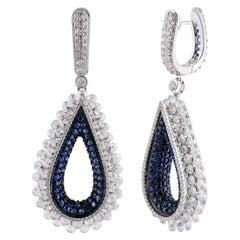 Studio Rêves Diamond and Blue Sapphire Tear Drop Reversible Earrings in 18K Gold