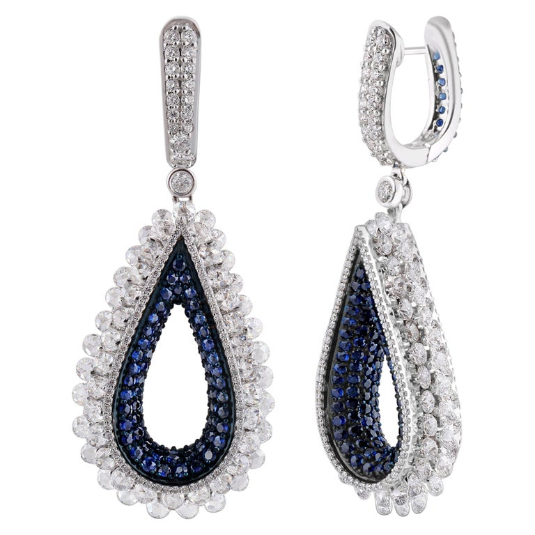 Studio Rêves Diamond and Blue Sapphire Tear Drop Reversible Earrings in 18K Gold For Sale