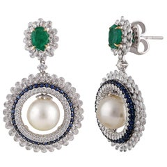 Studio Rêves Diamond and Blue Sapphire with Pearl Dangling Earrings in 18K Gold