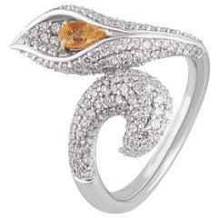 Studio Rêves Diamond and Citrine Cocktail Ring in 18 Karat Gold