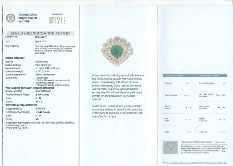 Rose Cut Studio Rêves Diamond and Emerald Cluster Ring in 18 Karat Gold