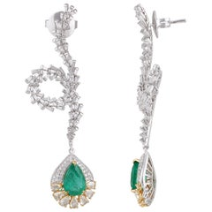 Studio Rêves Diamond and Emerald Fancy Curled Dangling Earrings in 18 Karat Gold