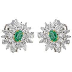 Studio Rêves Diamond and Emerald Stud Earrings in 18 Karat Gold