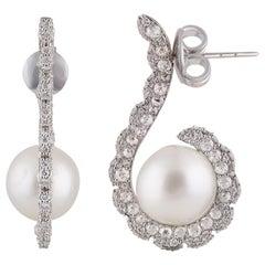 Studio Rêves Diamond and Pearl Wrap Stud Earrings in 18 Karat White Gold