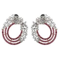 Studio Rêves Diamond and Pink Sapphire Circular Earrings in 18 Karat Gold