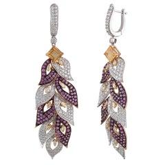 Studio Rêves Diamond and Pink Sapphire Leaves Dangling Earrings in 18 Karat Gold
