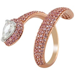 Studio Rêves Diamond and Pink Sapphire Serpent Ring in 18 Karat Gold