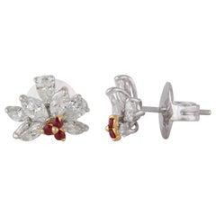 Studio Rêves Diamond and Rubies Stud Earrings in 18 Karat Gold