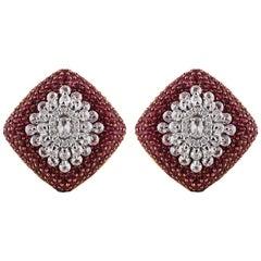 Studio Rêves Diamond and Rubies Studded Snowflake Stud Earrings in 18 Karat Gold