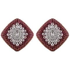 Studio Rêves Diamond and Rubies Studded Stud Earrings in 18 Karat Gold