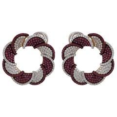 Studio Rêves Diamond and Rubies Swirling Stud Earrings in 18 Karat Gold