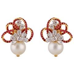 Studio Rêves Diamond and Rubies with Pearls Earrings in 18 Karat Gold