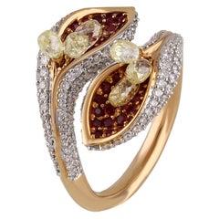 Studio Rêves Diamond and Ruby Floret Ring in 18 Karat Gold