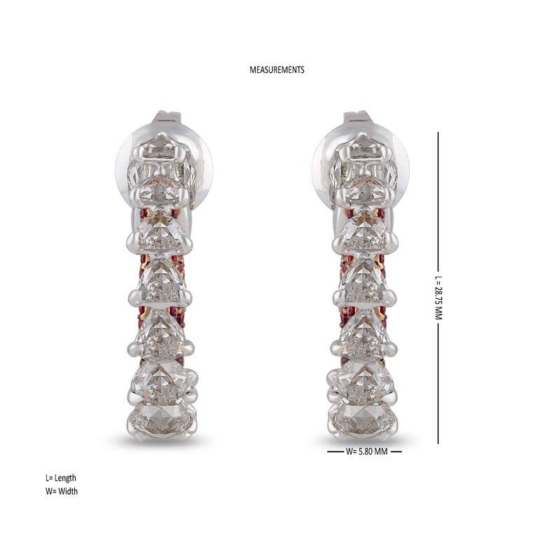 Rose Cut Studio Rêves Diamond and Ruby Hoop Earrings in 18 Karat Gold For Sale