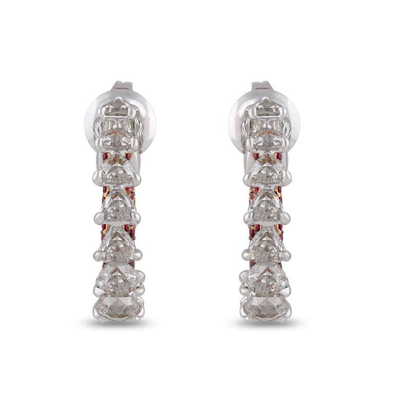 Women's Studio Rêves Diamond and Ruby Hoop Earrings in 18 Karat Gold For Sale