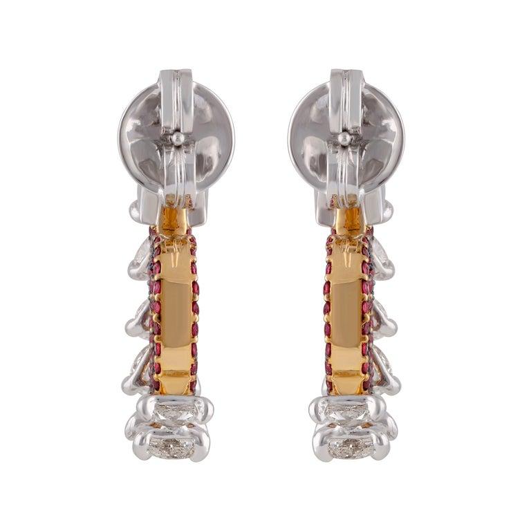 Studio Rêves Diamond and Ruby Hoop Earrings in 18 Karat Gold For Sale 1