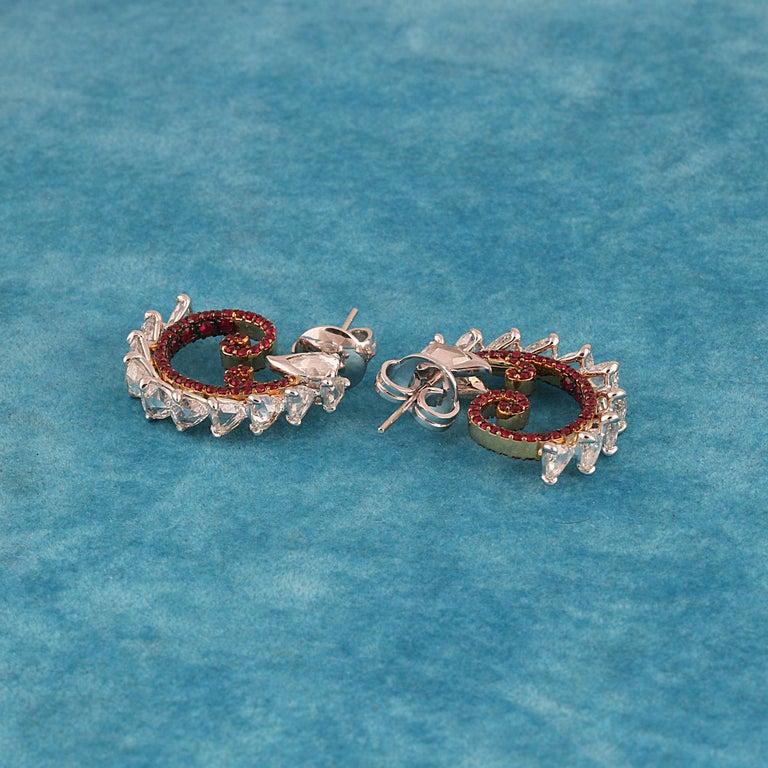 Studio Rêves Diamond and Ruby Hoop Earrings in 18 Karat Gold For Sale 2