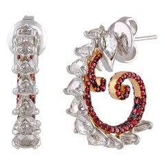 Studio Rêves Diamond and Ruby Hoop Earrings in 18 Karat Gold