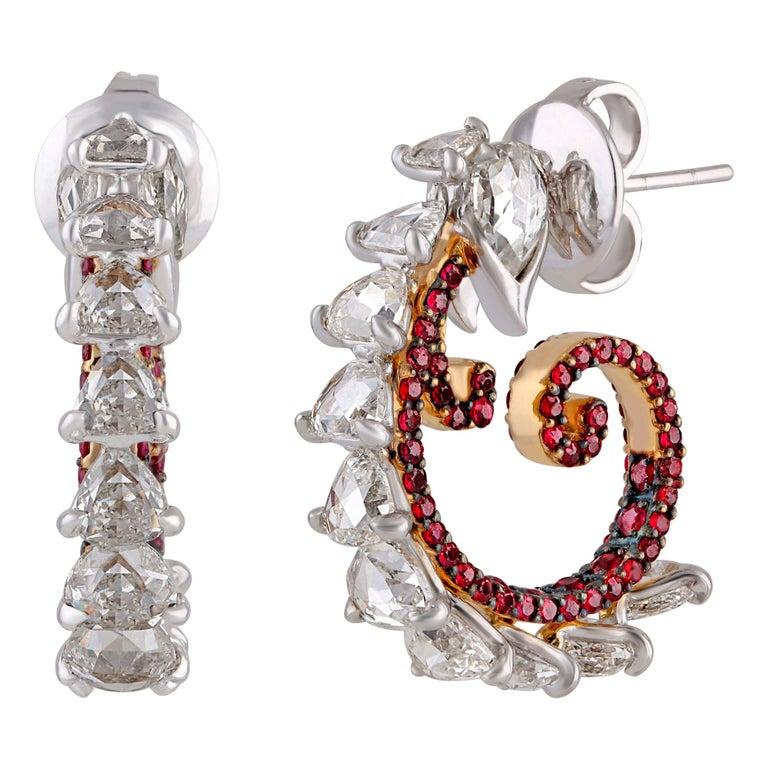 Studio Rêves Diamond and Ruby Hoop Earrings in 18 Karat Gold For Sale