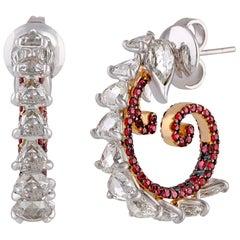 Studio Rêves Diamond and Ruby Studded Curled Hoop Earrings in 18 Karat Gold