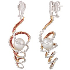 Studio Rêves Diamond and Ruby Swirl Pearl Dangling Earrings in 18 Karat Gold