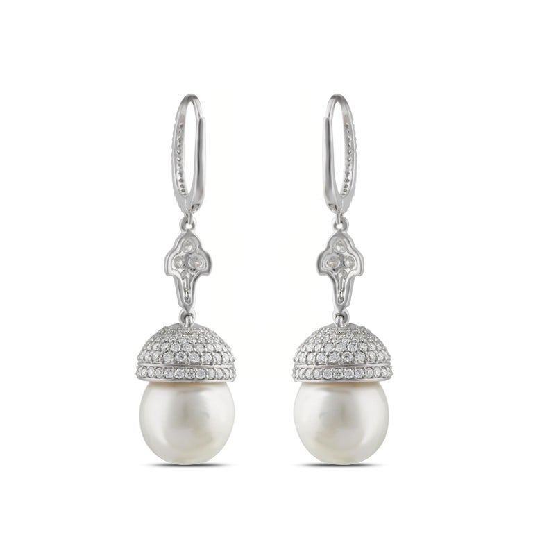 Round Cut Studio Rêves Diamond and South Sea Pearls Earrings in 18 Karat Gold For Sale