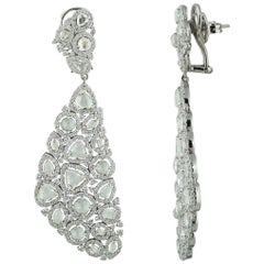 Studio Rêves Diamond Carpet Dangling Earrings in 18 Karat White Gold