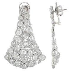 Studio Rêves Diamond Carpet Dangling Earrings in 18 Karat White Gold