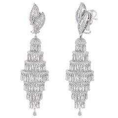 Studio Rêves Diamond Chandelier Earrings in 18 Karat White Gold