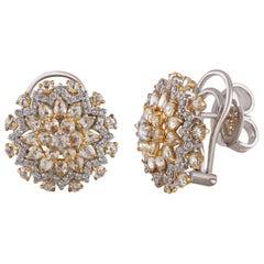 Studio Rêves Diamond Cluster Stud Earrings in 18 Karat Gold