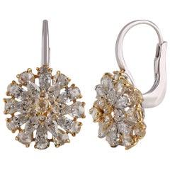 Studio Rêves Diamond Cluster Stud Hoop Earrings in 18 Karat Gold