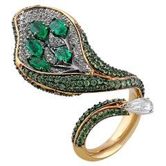 Studio Rêves Diamond Cocktail Ring with Emeralds and Tsavorites in 18 Karat Gold