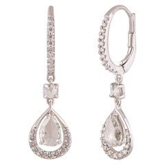 Studio Rêves Diamond Drop Dangling Earrings in 18 Karat White Gold