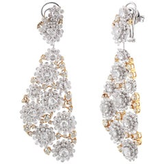 Studio Rêves Diamond Floral Carpet Earrings in 18 Karat Gold