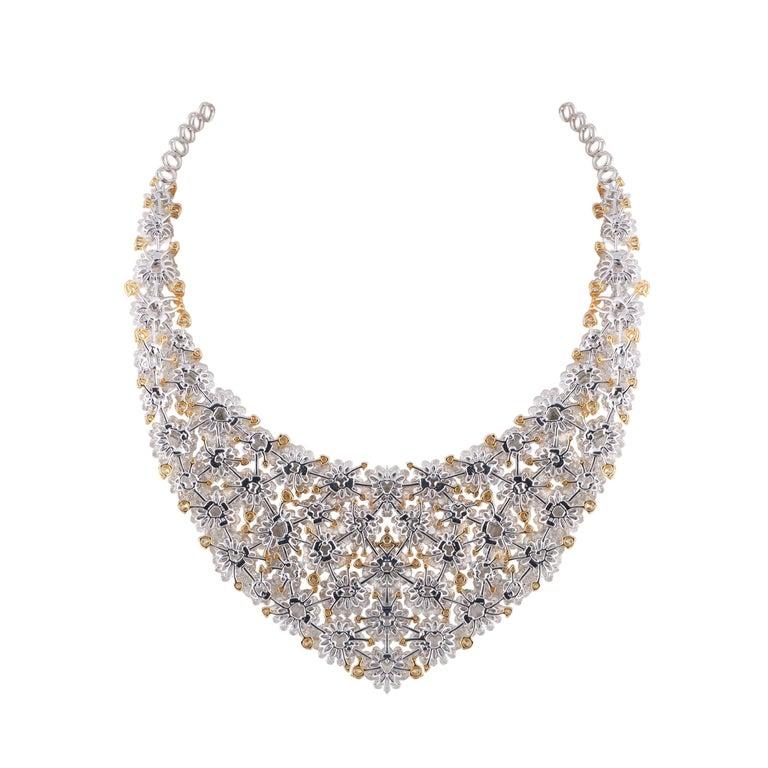 Rose Cut Studio Rêves Diamond Floral Carpet Necklace in 18 Karat Gold For Sale