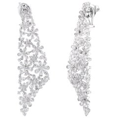 Studio Rêves Diamond Floral Dangling Earrings in 18 Karat Gold