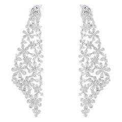 Studio Rêves Diamond Floral Dangling Earrings in 18 Karat Gold