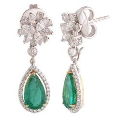 Studio Rêves Diamond Floret with Emerald Pear Drop Dangling Earrings in 18k Gold