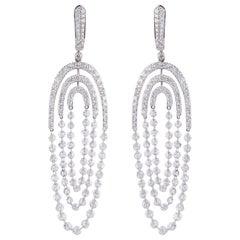 Studio Rêves Diamond Lever-Back Dangling Earrings in 18 Karat White Gold