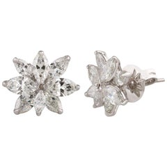 Studio Rêves Diamond Marquise Stud Earrings in 18 Karat White Gold