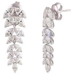 Studio Rêves Diamond Marquise Studded Earrings in 18 Karat White Gold