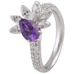 Studio Rêves Diamond Ring with Amethyst in 18 Karat White Gold