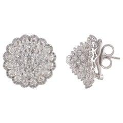 Studio Rêves Diamond Rose Cut Floral Cluster Stud Earrings in 18 Karat Gold