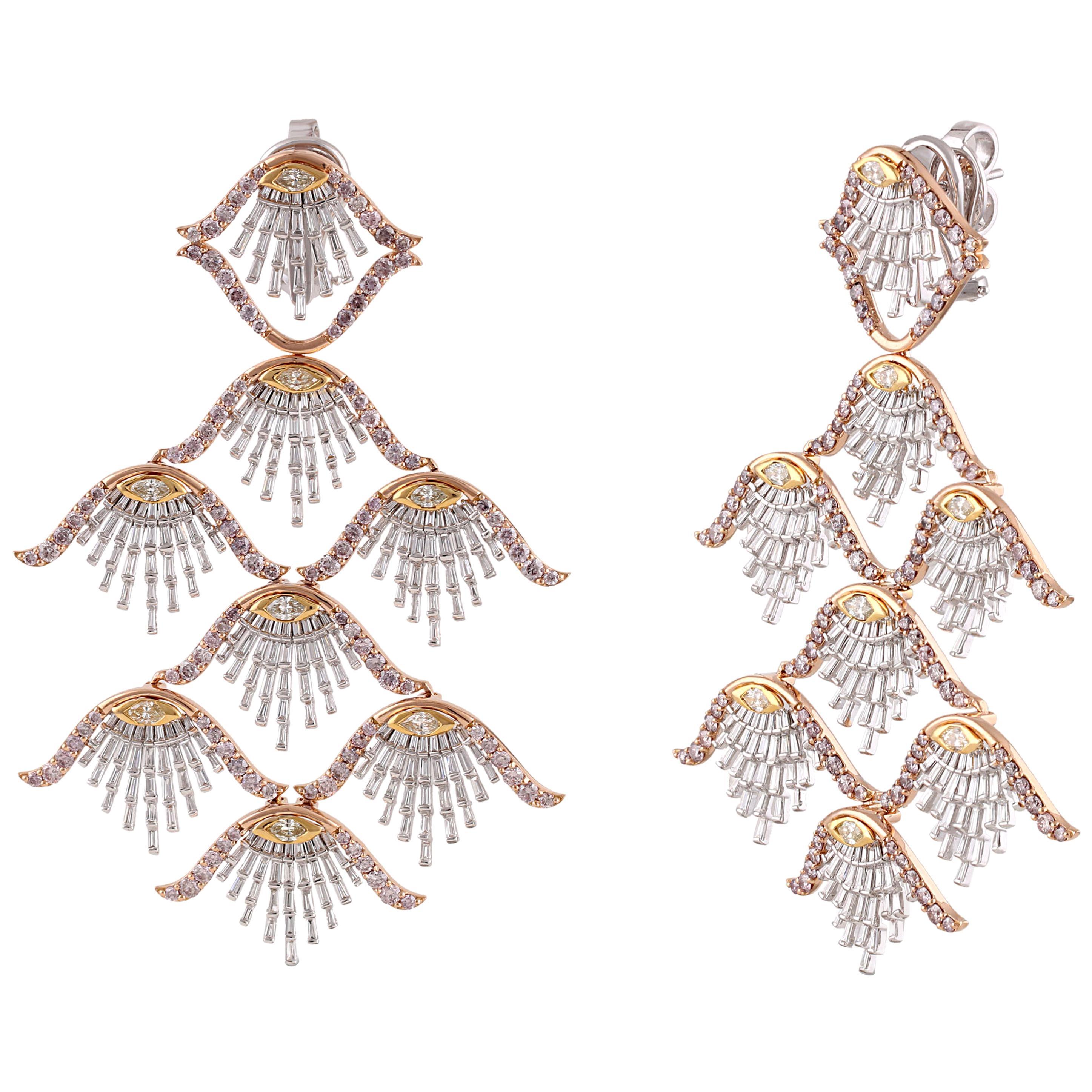 Studio Rêves Diamond Shell Dangling Earrings in 18 Karat Gold