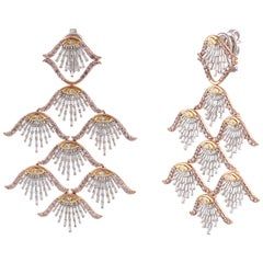 Studio Rêves Diamond Shell Dangling Earrings in 18 Karat Gold