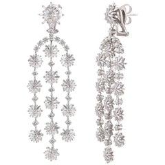 Studio Rêves Diamond Snowflakes Dangling Earrings in 18 Karat Gold