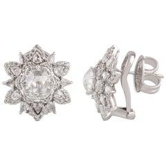 Studio Rêves Diamond Star Stud Earrings in 18 Karat White Gold