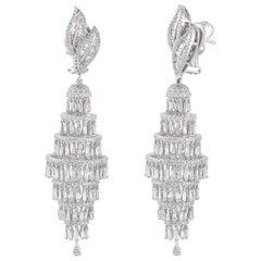 Studio Rêves Diamond Studded Chandelier Earrings in 18 Karat White Gold