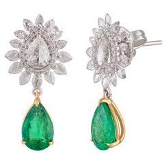 Studio Rêves Diamond Studded Emerald Earrings in 18 Karat Gold